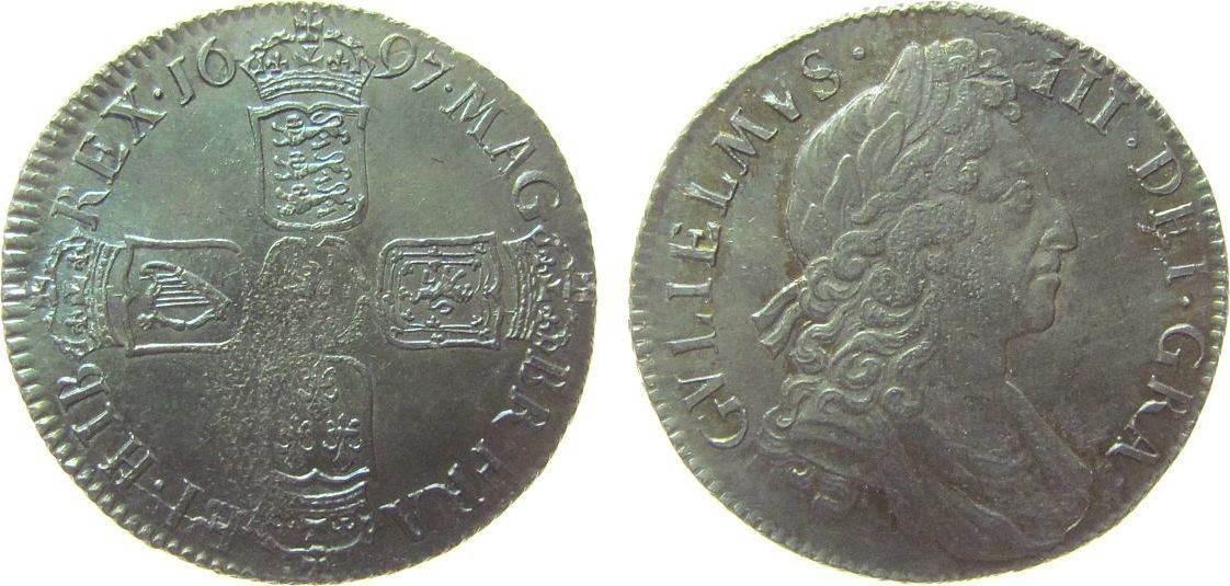 1 Shilling 1697 Großbritannien Ag William III, Schrötlingsfehler, übliche Prägeschwäche, etwas poröser Schrötling, third bust variety, hübsche Patina, ESC 1108 vz+