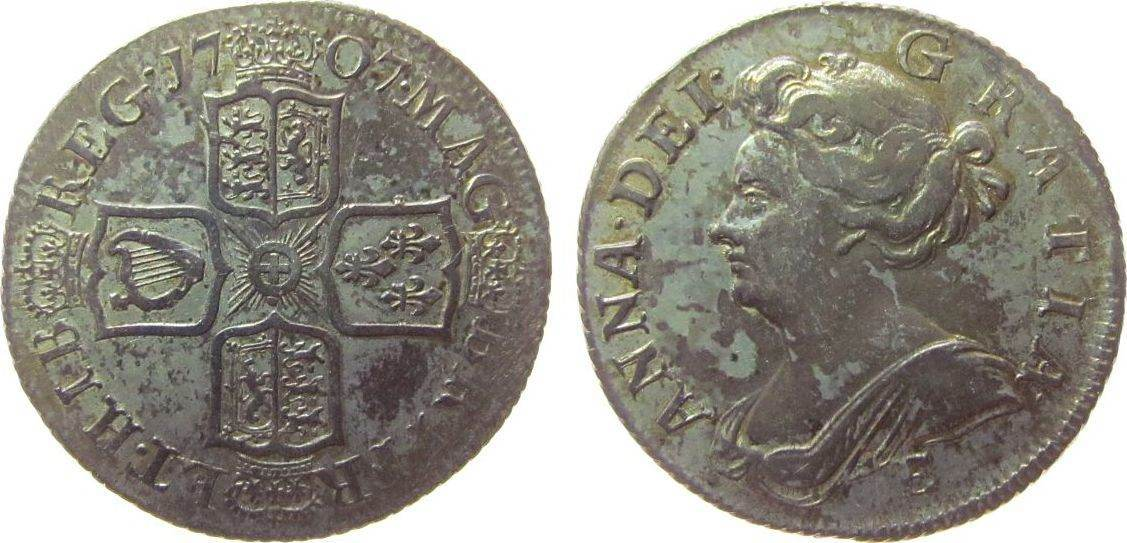 1 Shilling 1707 Großbritannien Ag Anne, third bust, E below, RV angels plain, ESC 1143 ss+