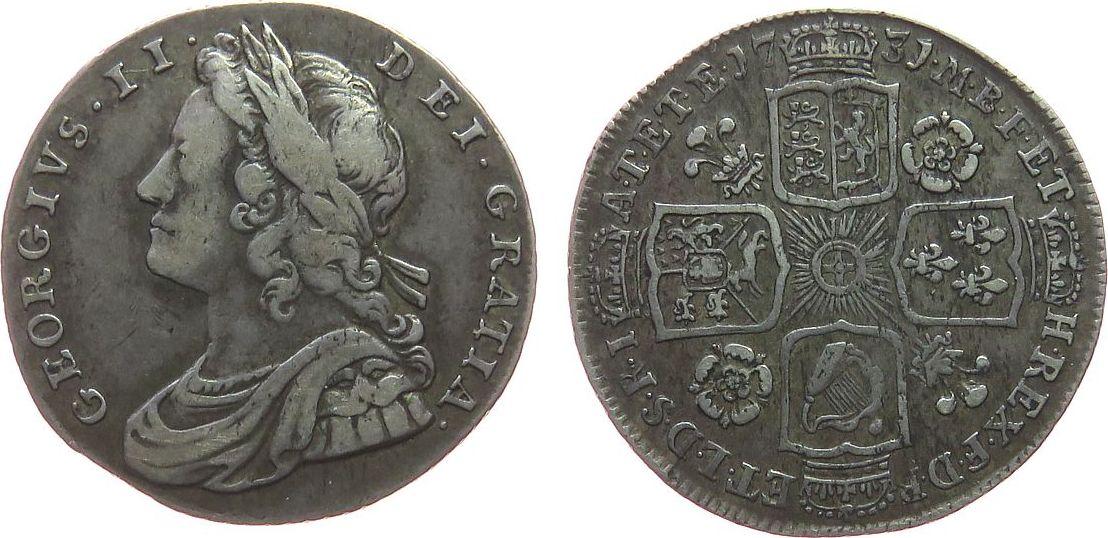1 Shilling 1731 Großbritannien Ag Georg I fast ss