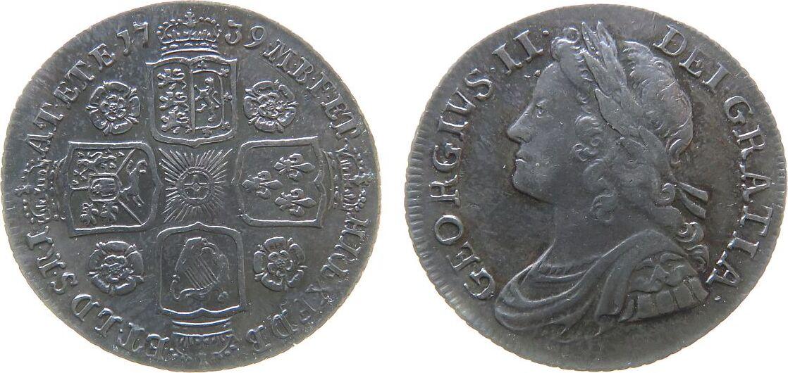 1 Shilling 1739 Großbritannien Ag Georg II, Roses, medium Garter-Star, medium garter star on reverse, ESC 1201, ein feiner Kratzer unter der 39, a very fine sc ss+ / vz