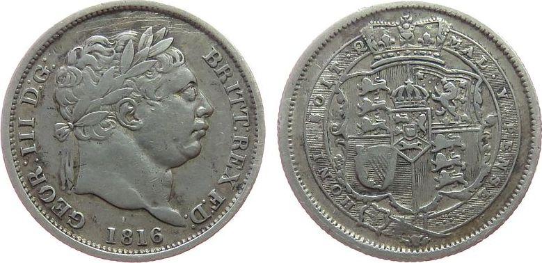 1 Shilling 1816 Großbritannien Ag Georg III, ESC 1228, feine Kratzer ss