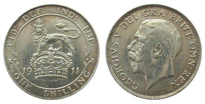 1 Shilling 1911 Großbritannien Ag Georg V ss