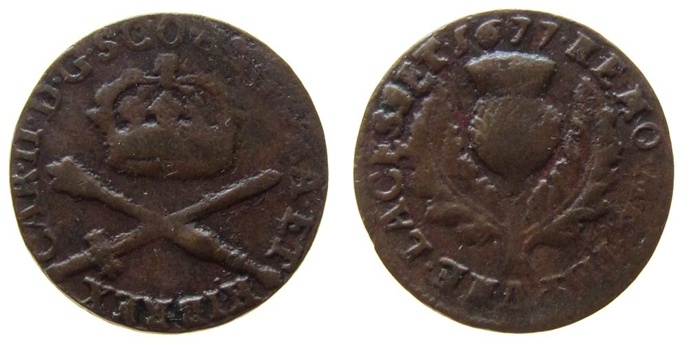 2 Pence 1677 Großbritannien Ku Charles II (1660-1685), für Schottland s-ss