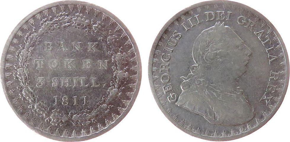 3 Shilling-Token 1811 Großbritannien Ag Georg III, Bank of England, ESC 407, Davis 49 ss