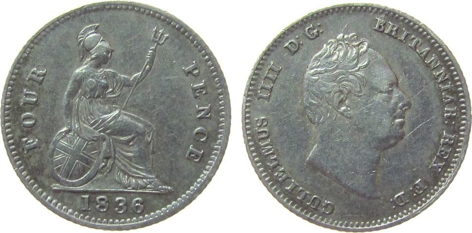 4 Pence 1836 Großbritannien Ag William IV ss+