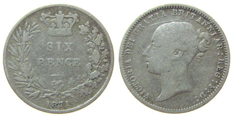 6 Pence 1871 Großbritannien Ag Victoria, Seaby 3910 schön
