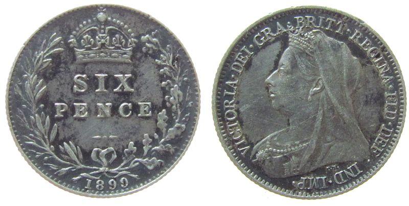 6 Pence 1899 Großbritannien Ag Victoria, S. 3941 ss