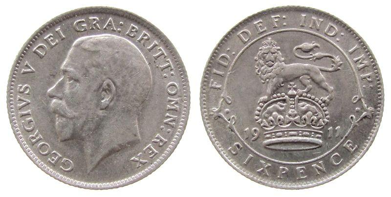 6 Pence 1911 Großbritannien Ag Georg V vz