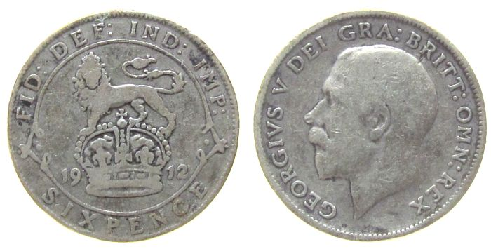6 Pence 1912 Großbritannien Ag Georg V schön