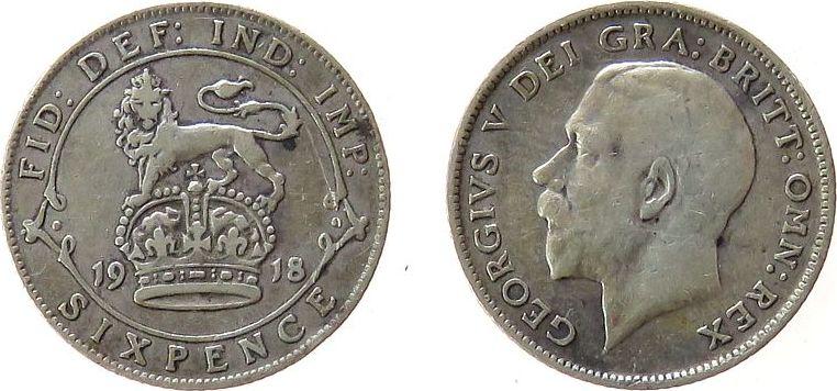 6 Pence 1918 Großbritannien Ag Georg V ss