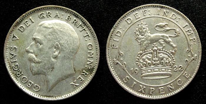 6 Pence 1922 Großbritannien Ag Georg V vz
