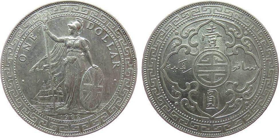 1 Dollar 1902 Großbritannien Ag Edward VII, B, Handelsdollar Orient, kleine Randfehler ss+