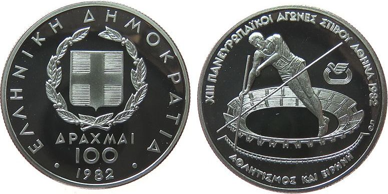 100 Drachmes 1982 Griechenland Ag Leichtathletik EM in Athen, Stabhochsprung pp