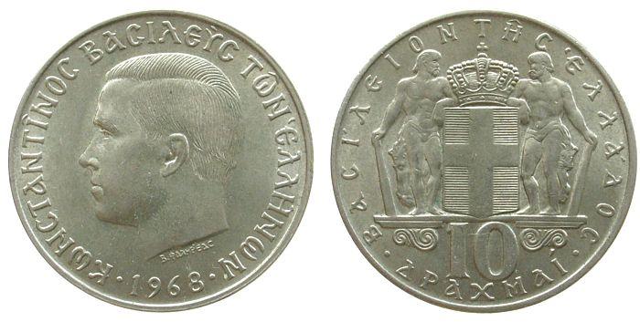 10 Drachmai 1968 Griechenland KN Konstantin II unz