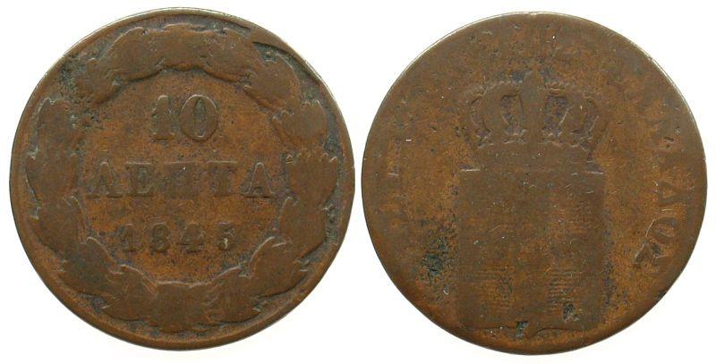 10 Lepta 1845 Griechenland Ku Otto von Bayern gering erhalten