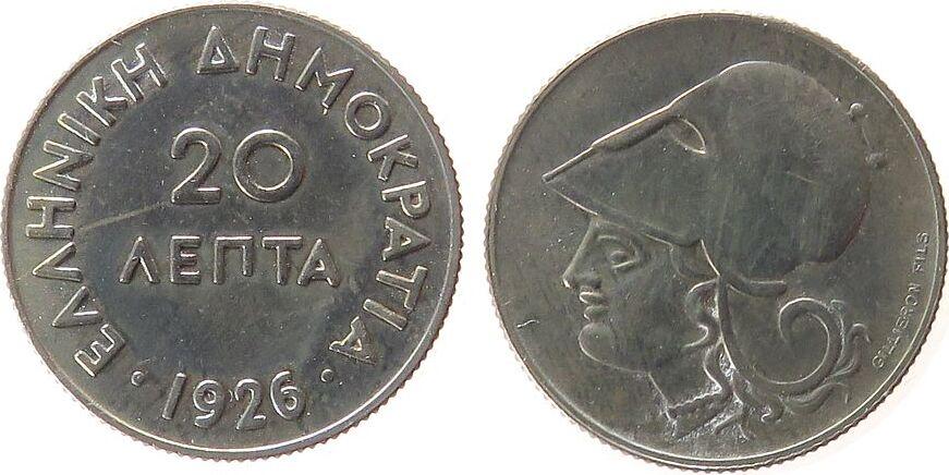 20 Lepta 1926 Griechenland KN Schön 8 unz
