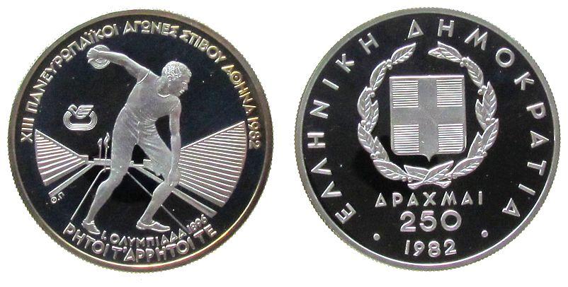 250 Drachmes 1982 Griechenland Ag Leichtathletik EM in Athen, Diskuswerfer pp