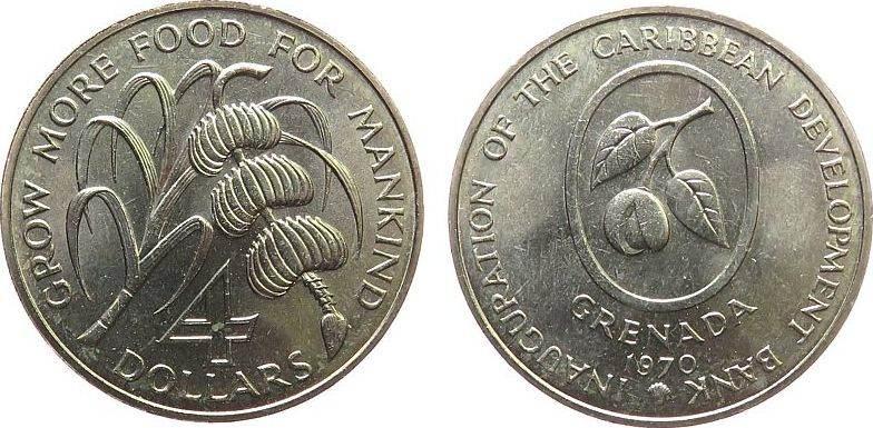 4 Dollar 1970 Grenada KN FAO unz