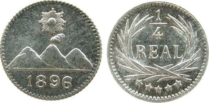1/4 Real 1896 Guatemala Ag . unz