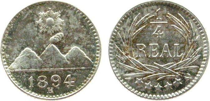 1/4 Real 1894 Guatemala Ag H (Heaton) unz