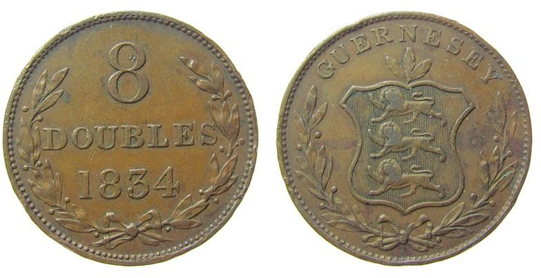8 Doubles 1834 Guernsey Br Wappen, mehrere Randfehler fast ss