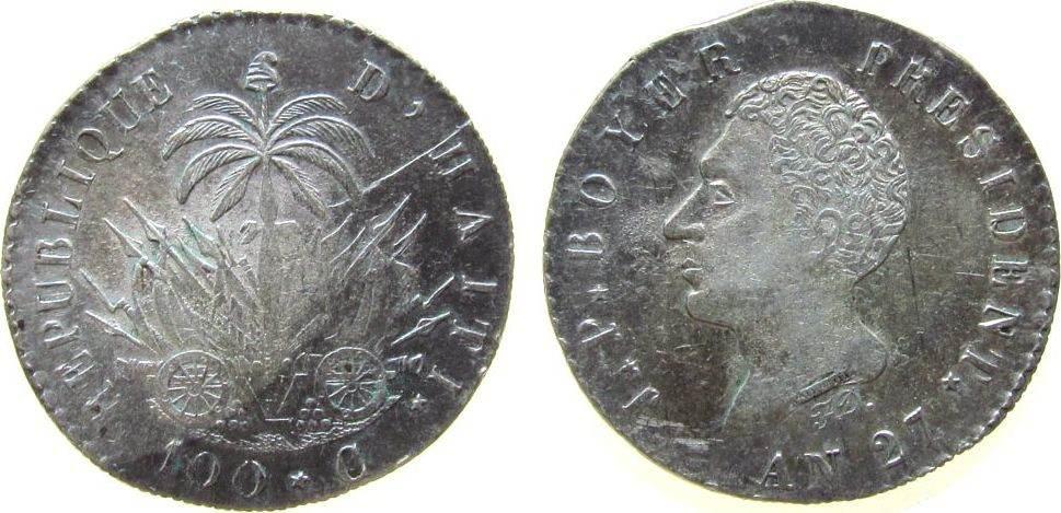 100 Centimes 1830 Haiti Ag J.P. Boyer, AN 27, Prägeschwäche, Stempelbruch vz+