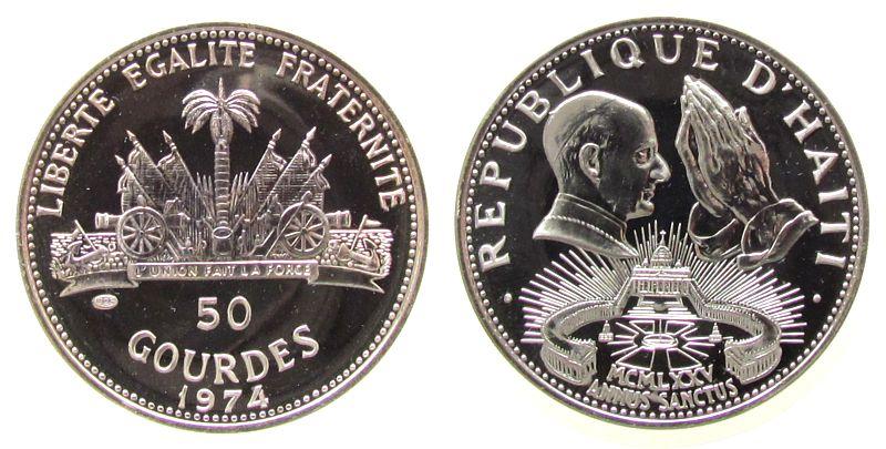 50 Gourdes 1974 Haiti Ag Papst Paul VI, Heiliges Jahr unz