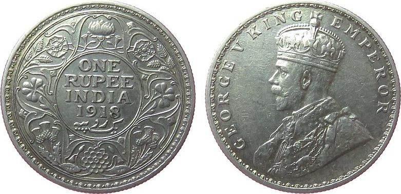 1 Rupie 1918 Britisch Indien Ag Georg V, C (Calcutta) vz