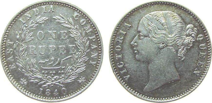 1 Rupie 1840 Britisch Indien Ag Victoria, W.W. raised, Calcutta vz