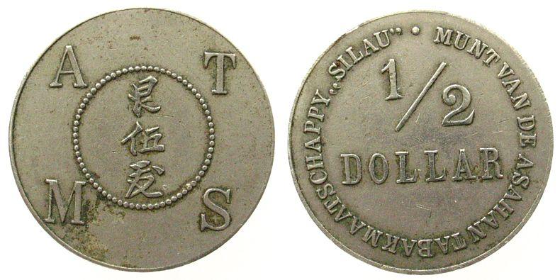 1/2 Dollar o.J. Indonesien Ni Asahan Tabak Maatschappij, Silau, Sultane von Atcheh, ATMS vz-