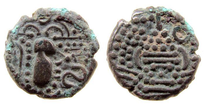 Drachme 900-1150 Indien IPS Ag Sassasinen, Saurashtra u. Gujarat, stil.Büste / stil. Feueraltar ss