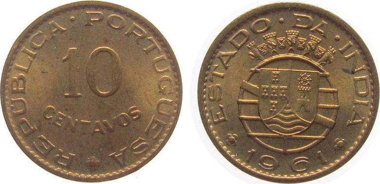 10 Centavos 1961 Indien Portugal Br etwas fleckig unz