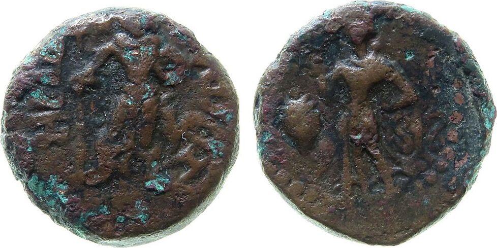Tedradrachme o.J. (ca.300-340 n.Chr.) Indien IPS Bronze Punjab - Yaudheya, Karttikeya / Lakshmi, ca. 11,2 Gramm ss