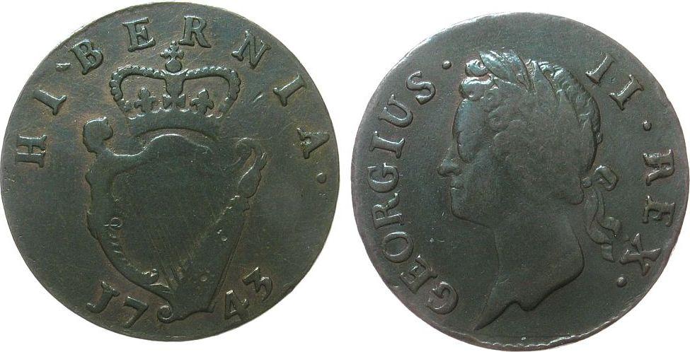 1/2 Penny 1743 Irland Ku Georg II fast ss