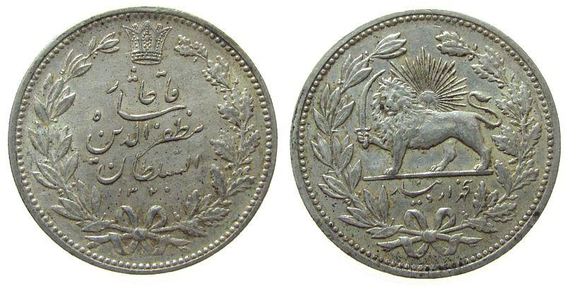 5000 Dinars 1902 Iran Ag Muzaffa al-Din Shah (1896-1907), AH1320 ss+