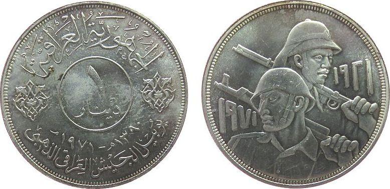 1 Dinar 1971 Irak Ag 50 Jahre irakische Armee vz-unc