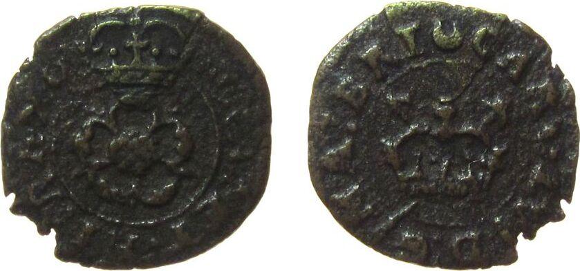 Farthing Token 1625-49 o.J. Irland Ku Charles I (1625-69), Rose / Zepter, ca. 0,69 Gramm, Mzz: Halbmond schön