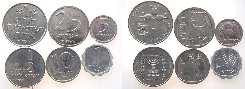 1,91 Lirot 1977 Israel div. 6 Münzen, 1 Agorot-1 Lirot, lose unz