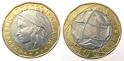 1000 Lire 1998 Italien Bi-Met Europakarte unz