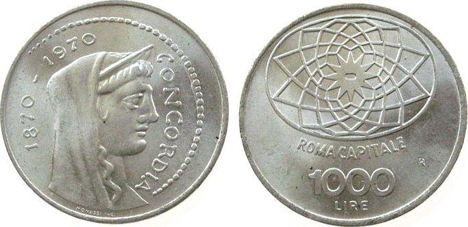 1000 Lire 1970 Italien Ag Rom, Schön 100 unz