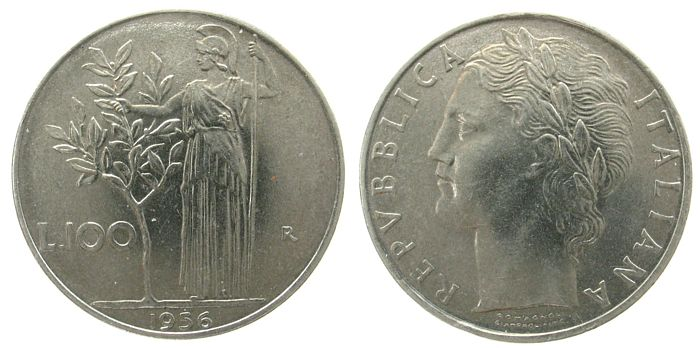 100 Lire 1956 Italien St . vz-unc