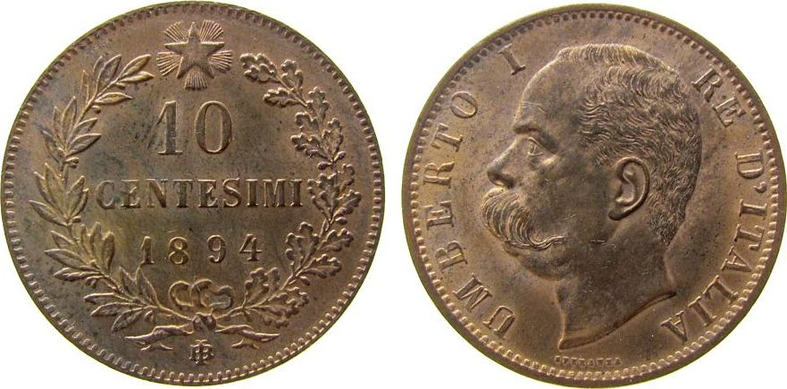 10 Centesimi 1894 Italien Ku Umberto I, BI (Birmingham), etwas fleckig unz