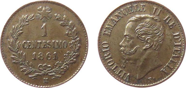 1 Centesimo 1861 Italien Ku Emanuel II, M (Mailand), gereinigt, feine Kratzer ss+