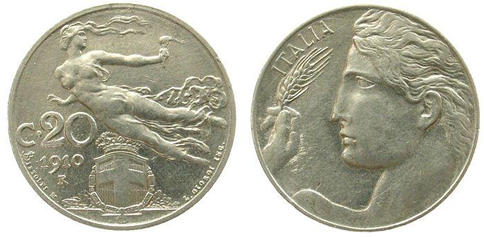 20 Centesimi 1910 Italien Ni Victor Emanuel III vz