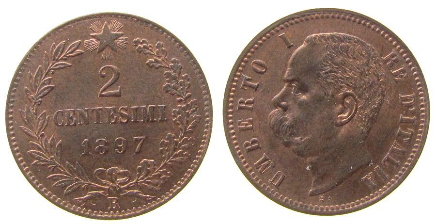 2 Centesimi 1897 Italien Ku Umberto I, R (Rom) unz