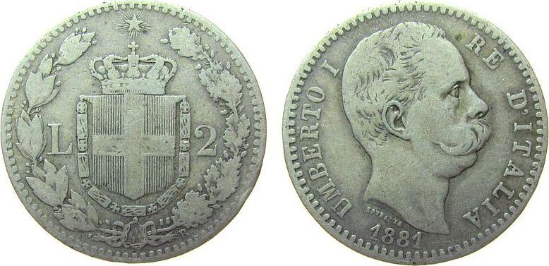 2 Lire 1881 Italien Ag Umberto I, R (Rom) fast ss