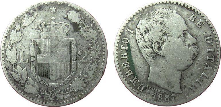 2 Lire 1887 Italien Ag Umberto I, R (Rom) fast ss