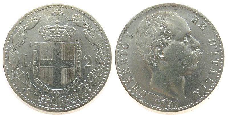 2 Lire 1897 Italien Ag Umberto I, R, gereinigt ss