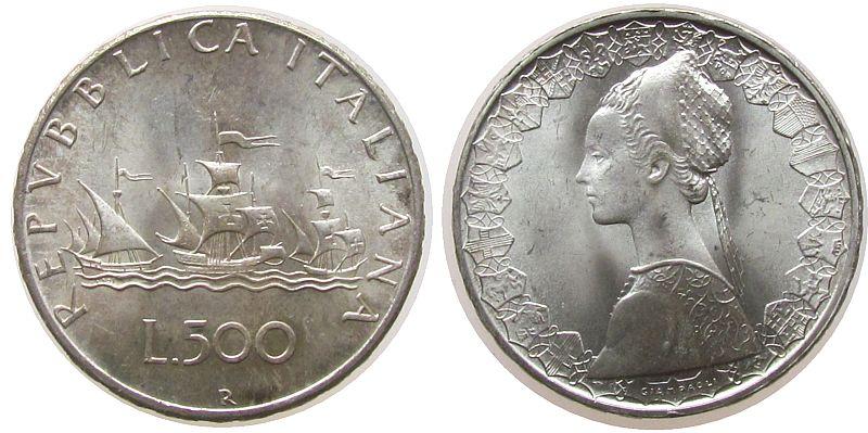 500 Lire 1966 Italien Ag Segelschiff vz-unc