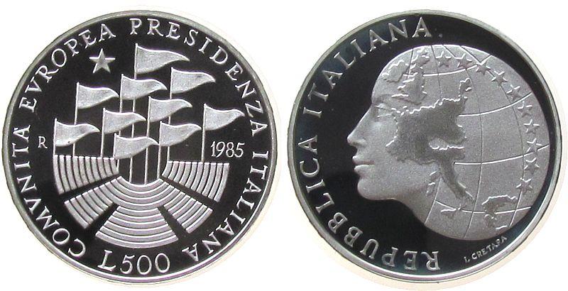 500 Lire 1985 Italien Ag EU-Präsidentschaft, OVP pp
